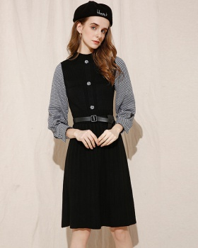 Pleated knitted sweater houndstooth splice dress