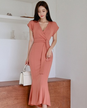 Temperament pinched waist long simple mermaid dress