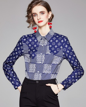 European style printing pinched waist all-match shirt