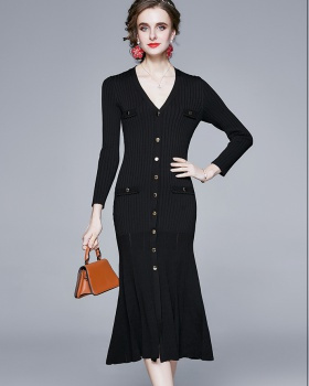 Knitted long sleeve temperament bottoming V-neck dress