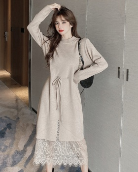 Autumn and winter overcoat inside the ride sweater dress