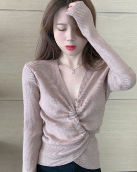 Autumn and winter V-neck clavicle bandage tops for women