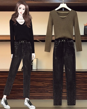 Removable chain jeans fat sweater 2pcs set for women