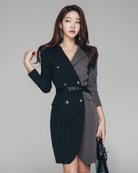 Autumn and winter pinched waist coat slim dress