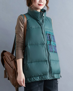 Large yard thermal down coat loose plaid vest for women