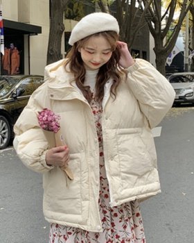 Loose winter Korean style thick hooded cotton coat for women