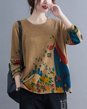 Pullover retro large yard tops fat round neck bottoming shirt