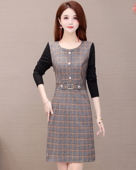 Temperament Cover belly autumn pinched waist slim dress