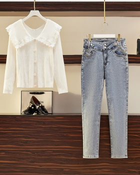 Knitted slim jeans long sleeve tops 2pcs set