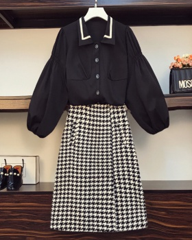 Autumn and winter plaid slim shirt large yard fat skirt