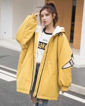 Autumn and winter hooded thick long plus velvet coat