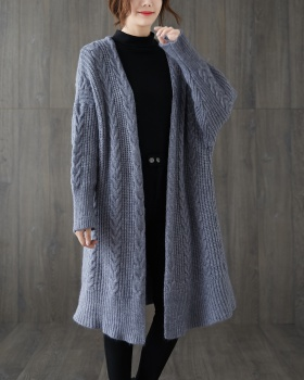 Loose simple knitted sweater autumn and winter long cardigan