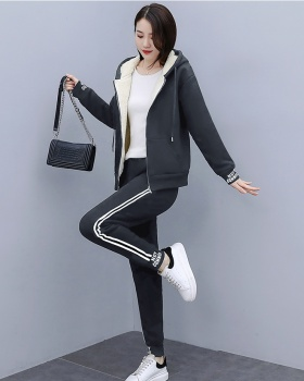 Lamb fur sports Casual thick hoodie 2pcs set for women