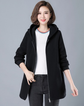Thermal loose long sleeve coat long all-match hoodie for women