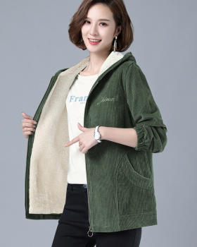 Hooded corduroy coat autumn and winter jacket for women