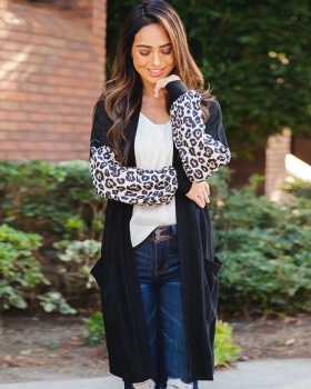 Long sleeve cardigan leopard windbreaker for women