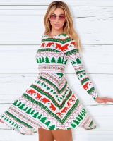 Printing long sleeve European style dress for women