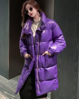 Bright purple long glossy loose cotton coat for women