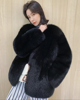 Long winter elmo fur coat fox fur thermal overcoat for women