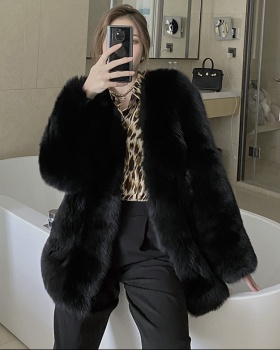 Long big fox fur overcoat slim fashion coat