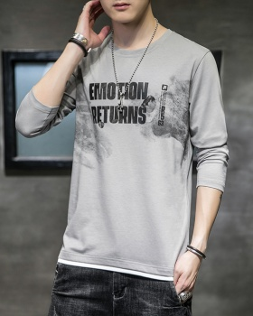 Autumn round neck tops long sleeve bottoming shirt for men