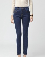 Slim plus velvet jeans thick long pants for women