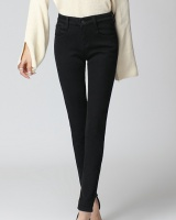 Plus velvet high waist jeans slim long pants