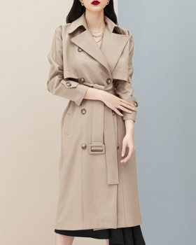 British style retro autumn windbreaker long lapel coat
