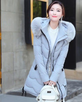 Casual down student long thick cotton coat for women