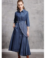 Irregular autumn lapel dress retro binding belt