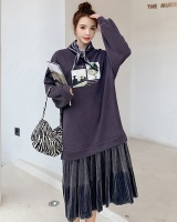 Slim autumn and winter pleated fat loose long dress