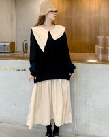 Autumn and winter slim Pseudo-two lapel dress