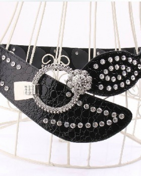 All-match rhinestone belt wide waist skirt for women