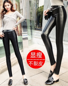 High waist plus velvet thin leather pants for women
