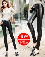 Thick plus velvet high waist leather pants