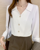 White doll collar tops profession retro shirt for women