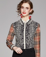 All-match pinched waist printing European style shirt