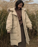 Long loose Korean style thick down winter cotton coat
