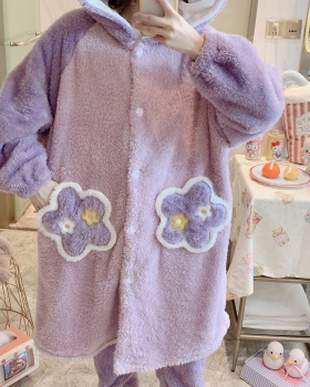 Thick nightgown thermal pajamas a set for women
