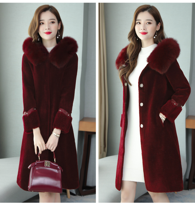 Winter fox fur fur coat long slim coat