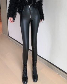 Tight long pants autumn and winter leather pants