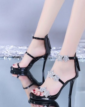 Sequins fine-root European style fish mouth sandals