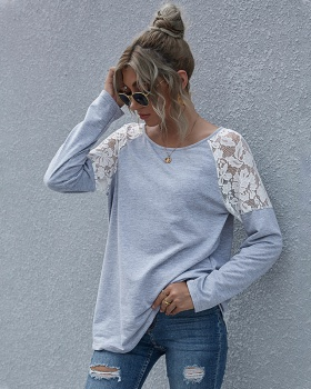 Casual long sleeve tops European style T-shirt for women