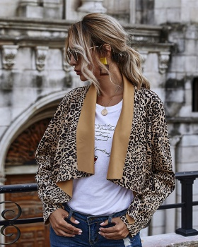 Leopard large lapel temperament cardigans coat for women