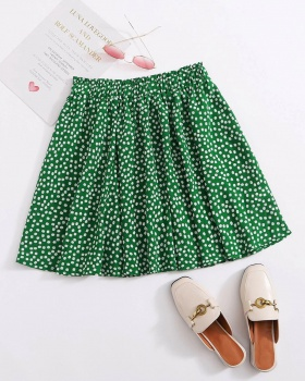 Floral pleated European style green summer skirt