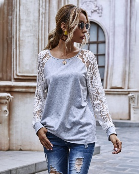 Round neck hollow tops lace sleeves Casual hoodie for women