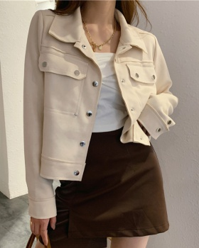 Loose all-match Korean style tops long sleeve short coat
