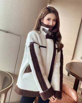 Mixed colors coat lambs wool windbreaker for women
