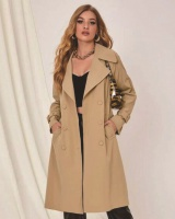 Classic autumn slim coat khaki exceed knee windbreaker