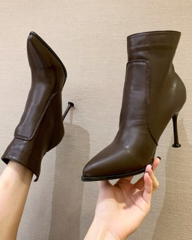 European style pointed martin boots side zipper boots